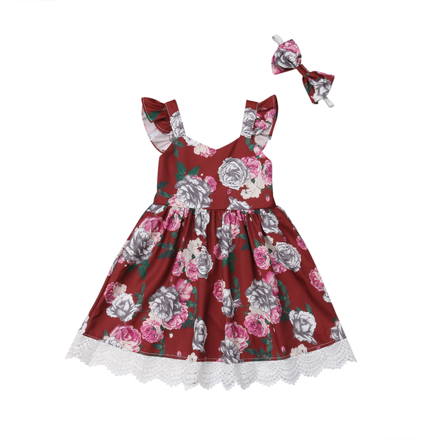 0888a6bee05c Toddler Kid Baby Girl Clothing Dresses Summer Flower Princess Party  Headbands Sleeveless Dress Clothes Girls 1