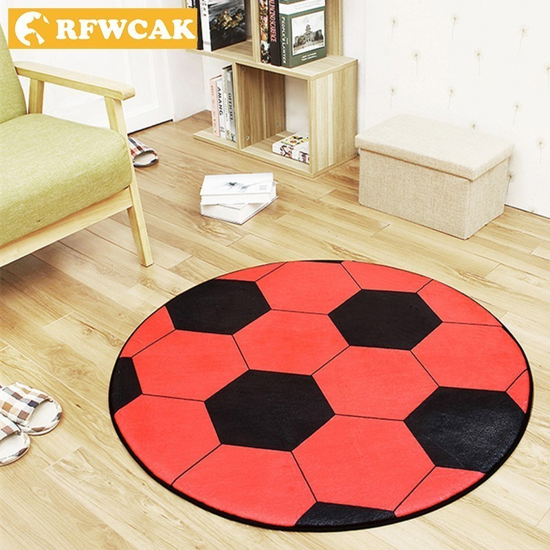 RFWCAK Polyester Anti-slip Ball Round Carpet ComputerChair Rug Football Basketball Carpets For Living Room Mat Bedroom Kids Rugs