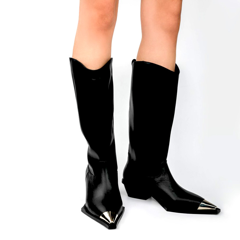 Bling Metal Pointed Toe Cow Leather Knee High Knight Boots Ladies Med Chunky Heels Slip On Martin Mixed Colors Mujer Botas