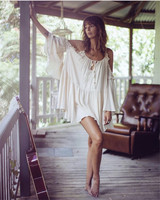 Bohemian off shoulder halter top dress butterfly sleeve loose mini dress with lurex