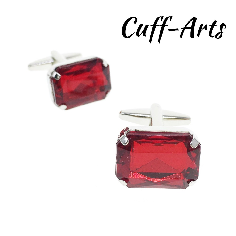 Cuffarts Luxury Red Crystal Acrylic Squares Cufflinks For Mens Shirt Jewelry Geometric Cuff Link Buttons Botoes Punho C20143