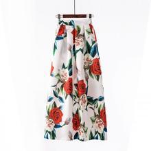 La señorita M mujeres Vintage faldas largas de 100 cm nueva moda de una  línea Floral impreso falda faldas de vaqueros en Saias f. 2d4e94588fe8