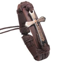 New Men Vintage Leather Bracelets & Bangles Metal Cross Jesus Adjustable Wax Cord Brown Black Bracelet Jewelry cool stylish i love jesus bracelet brown