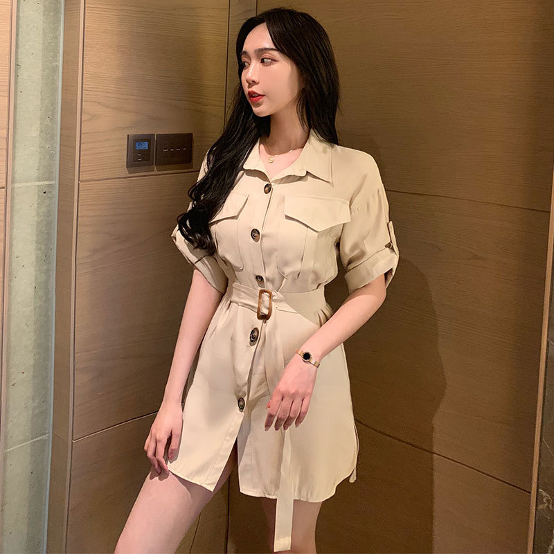 #5025 Summer Button Front Shirt Dress Women Short Sleeves Black Khaki With Belt Mini Dresses Ladies Sexy Fashion Korean Style Cheap Sales 50%