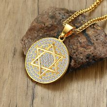 Dropshiping Stainless Steel Circular Star Of David Pendant Necklace With Cubic Zirconia Stones Medallion Men Hip Hop Jewelry(China)