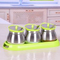 Kitchen seasoning cans supplies stainless steel cover skin jar bottle salt MSG paprika jar with lid with spoon spice jar