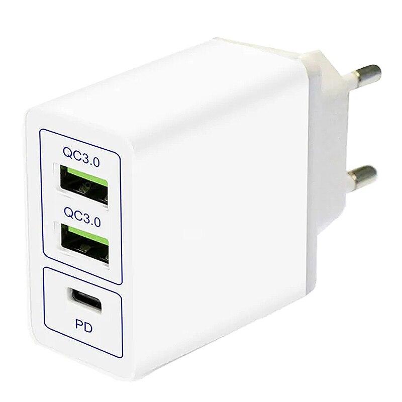 Usb Тип-C Pd Зарядное устройство Qc3.0 2Usb + Тип-C 6A быстро Зарядное устройство для телефона X, S8/S8 плюс в том числе C к C кабель (ЕС штекер)