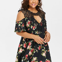 ccee69d4ef33 Kenancy Plus Size Boho Style Floral Prints Skater Dress Summer Lace  Patchwork Hollow Out Sexy Beach