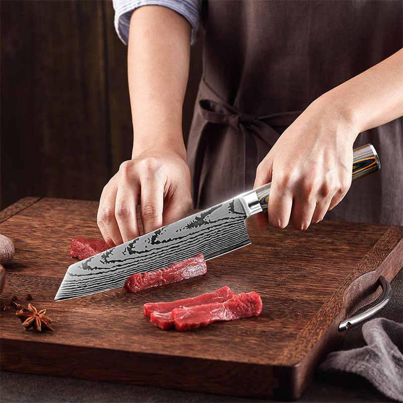 Cuchillos de Chef, cuchillo de cocina japonés 7CR17 440C, acero inoxidable de alto carbono, cuchillo láser de lijado de imitación de Damasco, envío directo