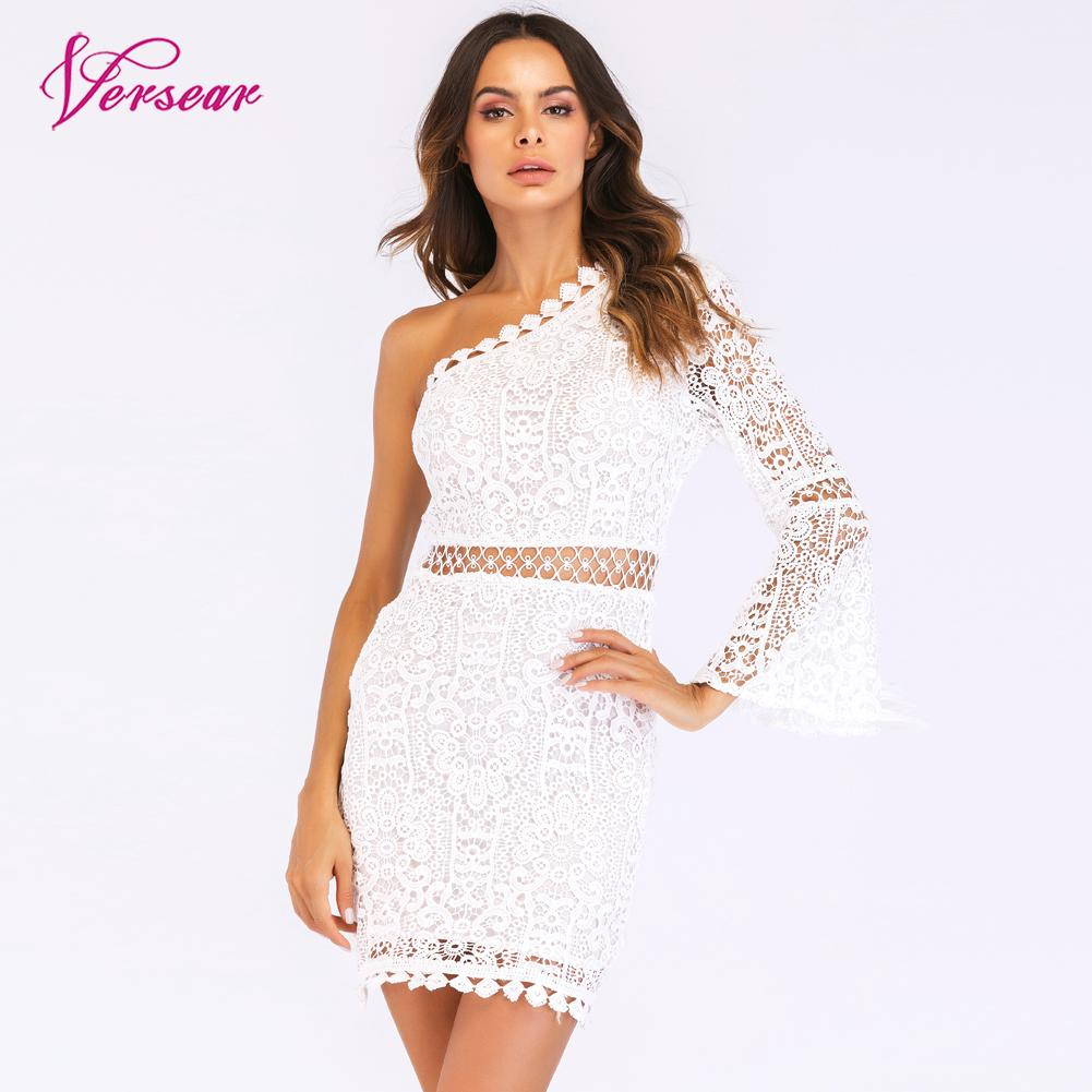 Versear New Sexy Women Lace Dress One Shoulder Flare Sleeve Hollow Out Clubwear Party Dress Mini Elegant Slim Dresses Vestidos