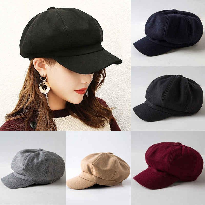 f329b6a19f18d 2019 New Fashion Black Hat Cap Women Casual Streetwear Cap Elegant Solid  Autumn Winter Warm Beret