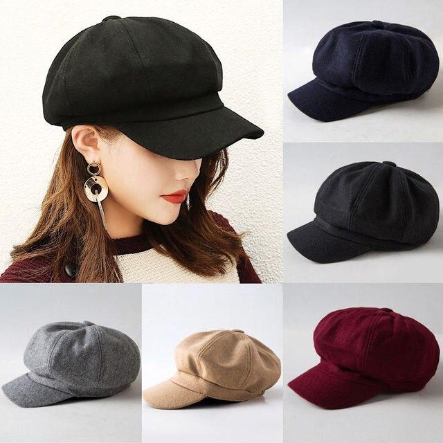 41f715ebb77960 2019 New Fashion Black Hat Cap Women Casual Streetwear Cap Elegant Solid  Autumn Winter Warm Beret