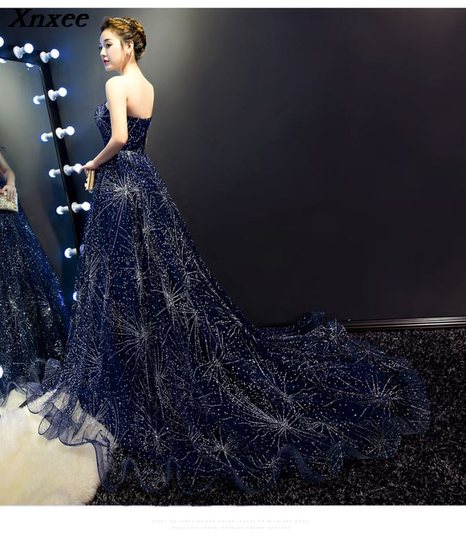 Xnxee Evening gown long section 2019 new annual meeting host dress trailing tube top starry sky