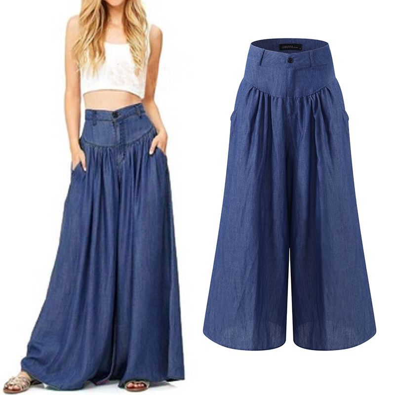 Oversized Women's   Wide     Leg     Pants   Women   Pants   2019 Summer Autumn Female Casual Pleated Trousers Zipper Pantalon Palazzo Femme