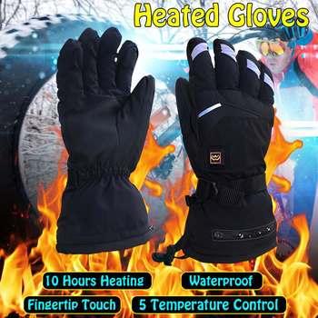 1 par de las mujeres de los hombres de la motocicleta caliente guantes + batería recargable para la motocicleta caza de invierno cálido guantes de esquí
