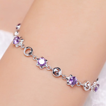 купить S925 Sterling Silver Women's Diamond Bracelet Bileklik Amethyst Crystal Bizuteria Kehribar for Women Jewelry Bracelets Wholesale по цене 814.79 рублей
