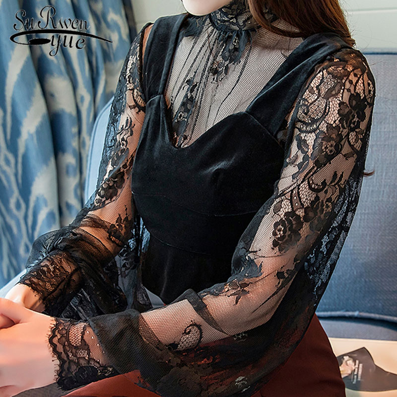 blusas mujer de moda 2019 autumn winter new perspective lace bottom top velvet vest women blouse shirt sexy black top 1450 45