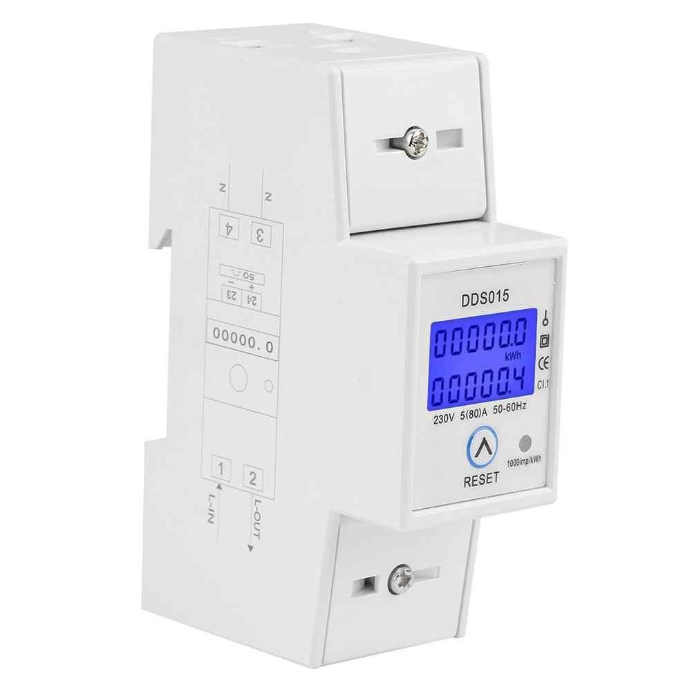 5-80A 230 V 50Hz Digital LCD Single Phase Energi Meter Watt Meter 35 Mm DIN Rel Pemasangan DDS015 Diskon