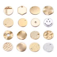 20 unidades de colgantes de disco redondo de Latón chapado en Color dorado de 24K para DIY, accesorios para hacer joyas