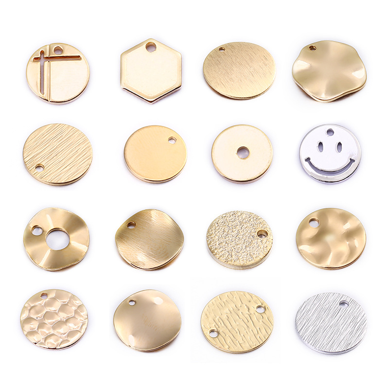 20PCS 24K Gold Color Plated Brass Round Disk Pendants Charms for DIY Jewelry Making Findings Accessories