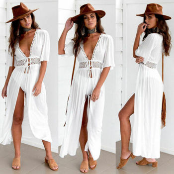 Sexy Ladies Women Solid White Bikini Cover up Beach Dress Swimwear Chiffon Beachwear Bathing Suit Summer Holiday Kimono Cardigan 2