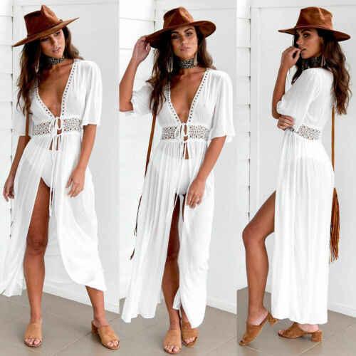 セクシーなレディース女性ソリッドホワイトビキニカバーアップビーチドレス水着シフォンビーチウェア水着夏ホリデー着物カーディガン