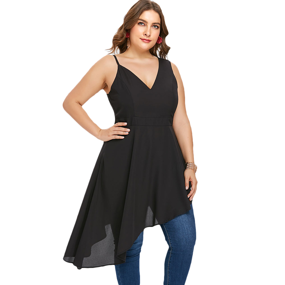 US $11.69 49% OFF|Kenancy Plus Size Low Cut Summer Tunic Dress V Neck  Halter Sleeveless Black High Waist Asymmetrical Party Wear Women Dresses-in  ...
