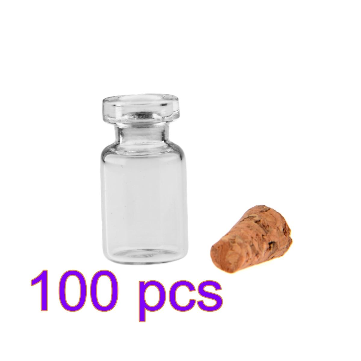 1pcs / 50pcs / 100Pcs 0.5ml Mini Clear Glass Bottle Wishing Bottle Vials Empty Glass Jars Weddings Wish Jewelry Party Favors