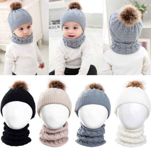 2Pcs Toddler Baby Boys Girl Winter Skull Cap Hats Scarf Set Kids Girls Boy  Soft Warm 433c14e48fd9