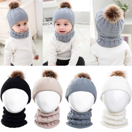 2Pcs Toddler Baby Boys Girl Winter Skull Cap Hats Scarf Set Kids Girls Boy Soft Warm Fur Pom Bobble Knitted Beanies Hats Caps real mink pom poms wool rabbit fur knitted hat skullies winter cap for women girls hats feminino beanies brand hats bones