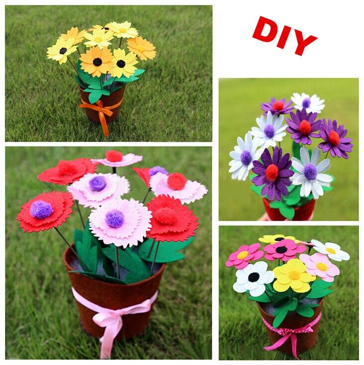 Happyxuan 4pcs Diy Flower Pot Felt Fabric Toy Arts Craft Kits Kids