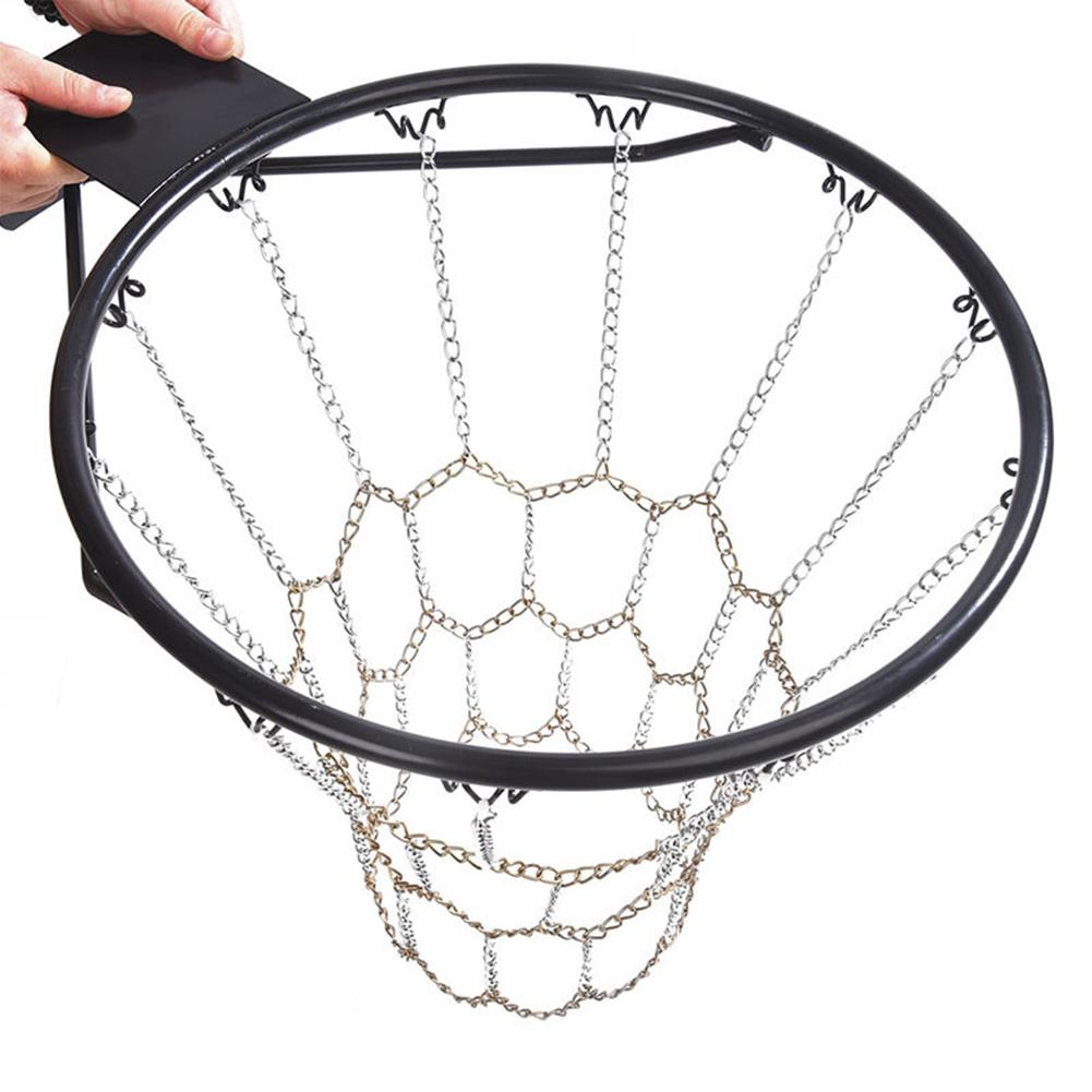New Chain Two Color Basket Net Basketball Sports Heavy Duty Galvanized Steel Chain Basketball Goal Net Durable Standard Hoop in Basketballs from Sports Entertainment