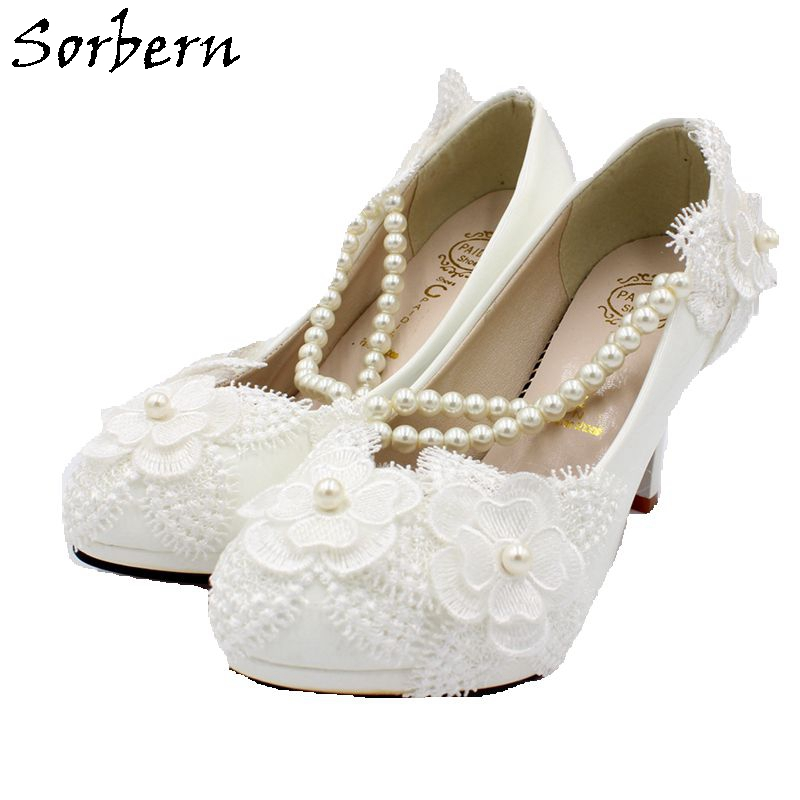 Sorbern White Lace Bridal Wedding Shoes Slip On Beading Low Heels For Ladies Pumps Shoes Designers Shoes Women