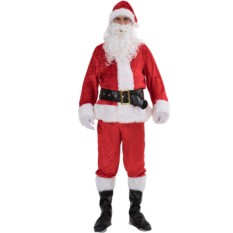 7PCS Christmas Santa Claus Costume Fancy Dress Adult Suit Cos Party Outfit 2018 Santa Claus Gloves Hat Belt Beard Shoes Pant Set