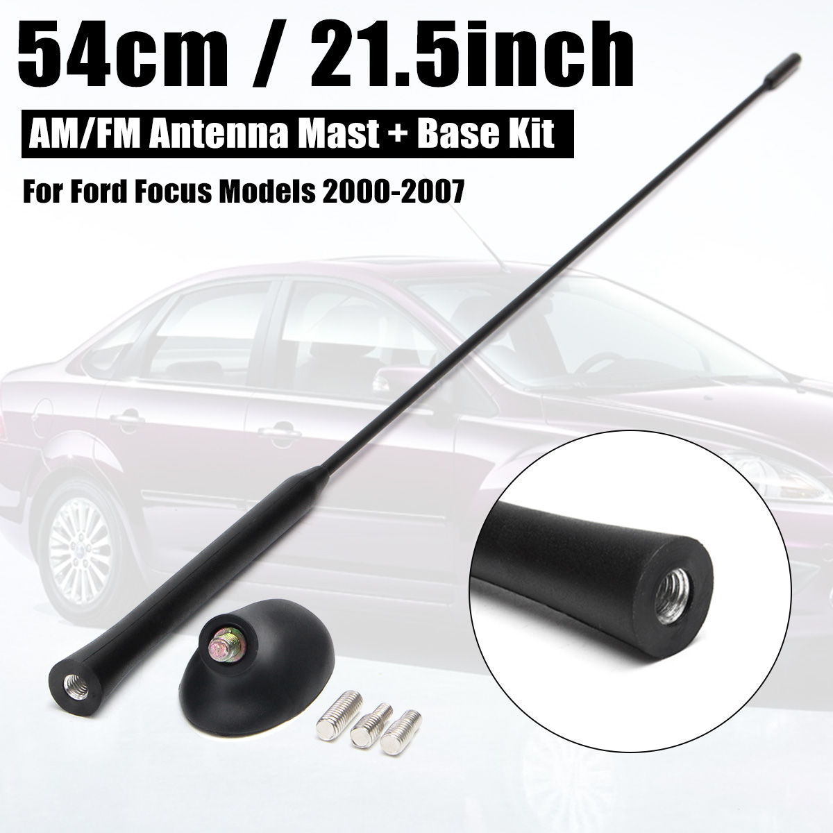 """21.5/"""" for Ford Focus 2000-2007 55CM Antenna Aerial Roof AM//FM Stereo Car Radio"""