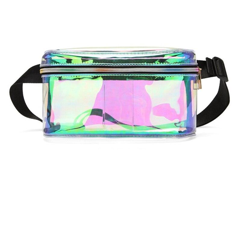 1PC Women Transparent Waist Packs Ladies Purse Laser PVC Clear Wallet Zipper Waist Bags Pouch Key Pocket