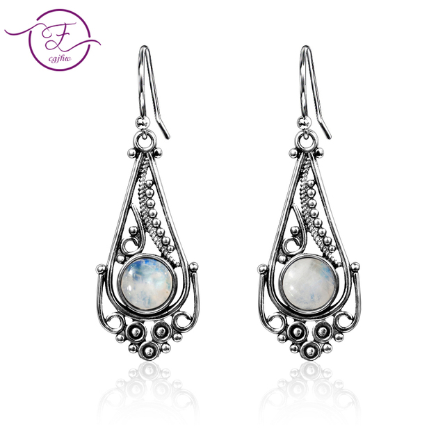 New listing 7MM round natural moonstone earrings bohemian style 925 sterling silver pendant earrings women fashion wedding party