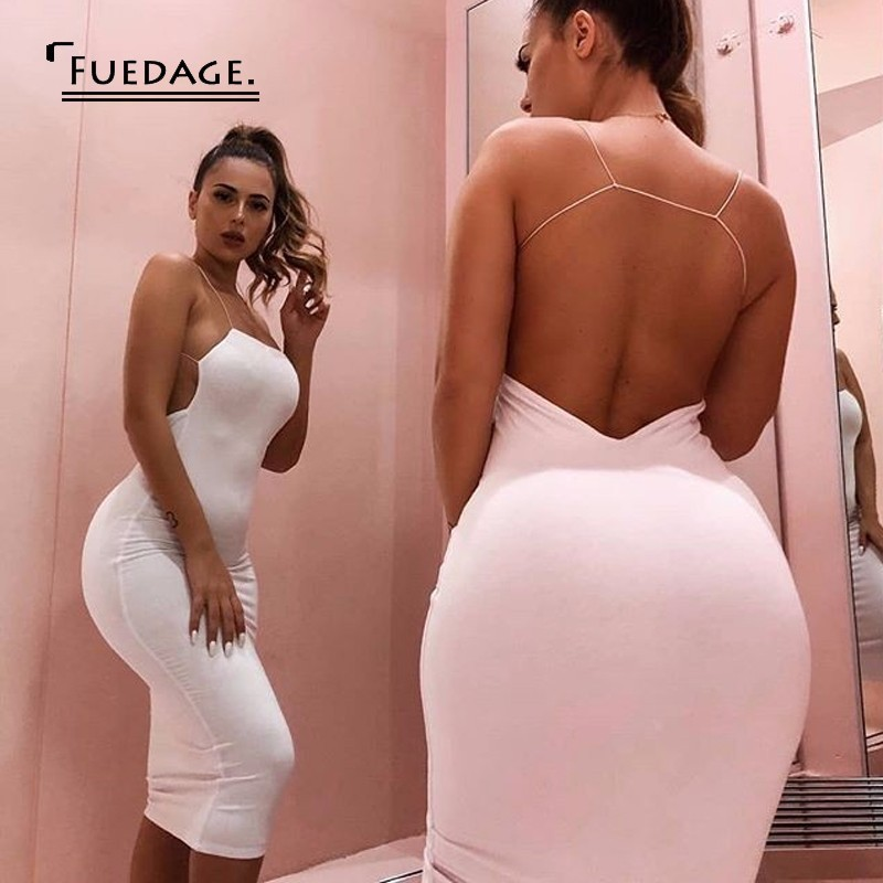 b0fa756e55 Fuedage Backless V-neck White Bodycon Dresses Women Solid Black Sleeveless  Backless Sexy Dress Elegant Club Party Dress Vestido