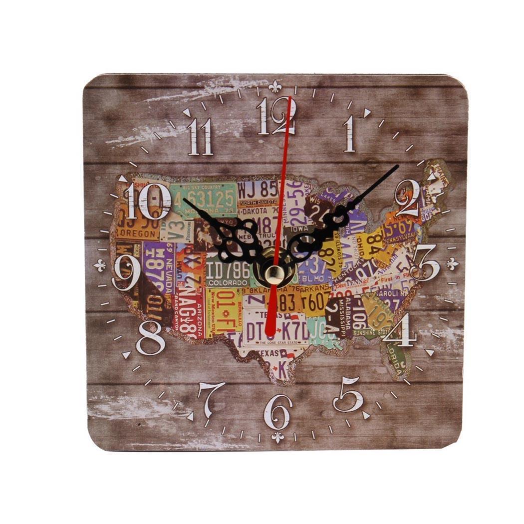 Quartz Clock Alarm Bedroom Indoor Rectangle Colors Living Style Pattern Unisex Prints 4 Room Creative New Clock Vintage
