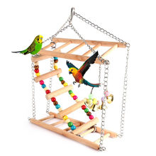 1pc Parrots Toys Bird Swing Exercise Climbing Hanging Ladder Bridge Wooden Rainbow Pet Parrot Macaw Hammock Bird Toy With Bells(China)