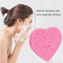 Hot Sale Face Wash Puff Heart Shaped Wood Pulp Cotton Face Wash Cleansing Sponge Soft Facial Cleaning Sponge Pad