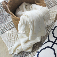 White Cable Brand Knit Blanket For Sofa Bed Warm Spring Gray Blanket 50'' X 70''