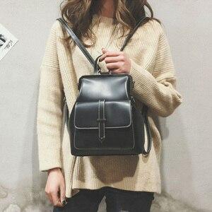 Image 3 - Plecak szkolny dla kobiet plecak skórzany mały Mochila Feminina torebka Vintage na ramię kobieta Mini plecak szkolny Sac A Dos