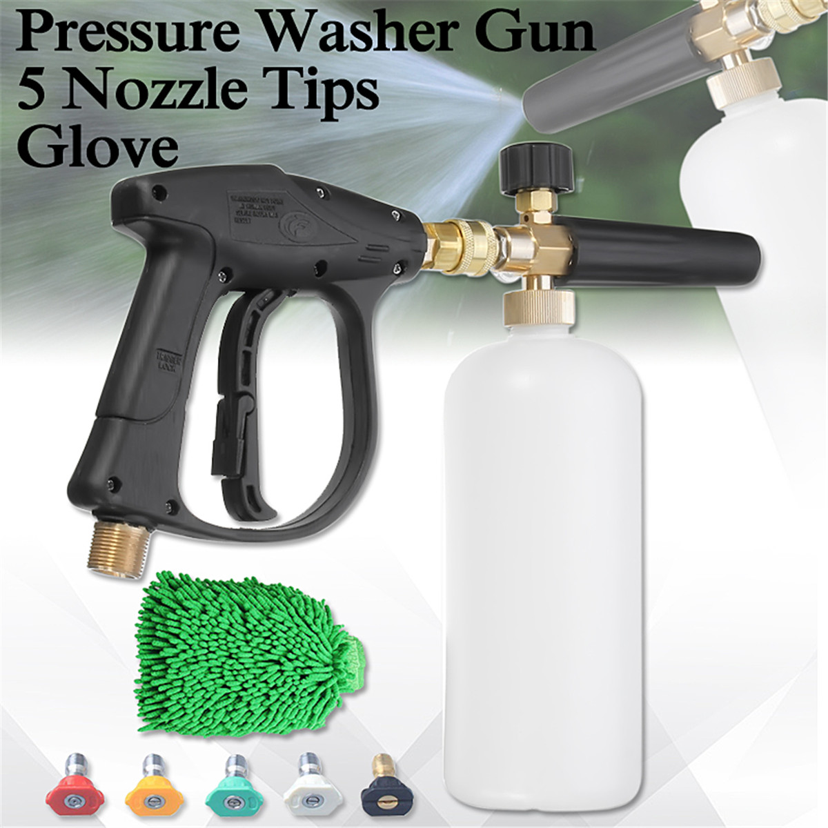High Pressure Washer Gu n Water Jet 3000 PSI M22 1/4 Inch Snow Suds Lance Cannon 1L Glove 5 Nozzle Tips Set