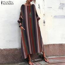 Dress for Women Stripe Maxi Dresses ZANZEA Long Sleeve Vestidos Bohemian Summer Sundress Casual Pockets Beach Robe Oversize