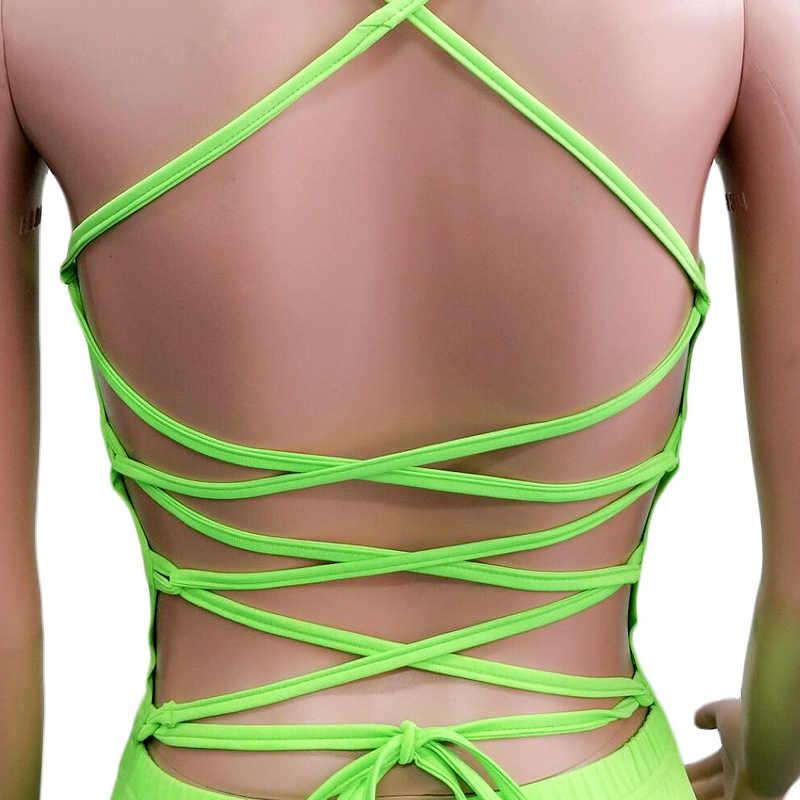 Sexy Zomer Korte Jumpsuit Vrouwen Spaghetti Band Romper Backless Mouwloze Shorts Bandage Lace Up Palysuit Fitness Geel Sexi