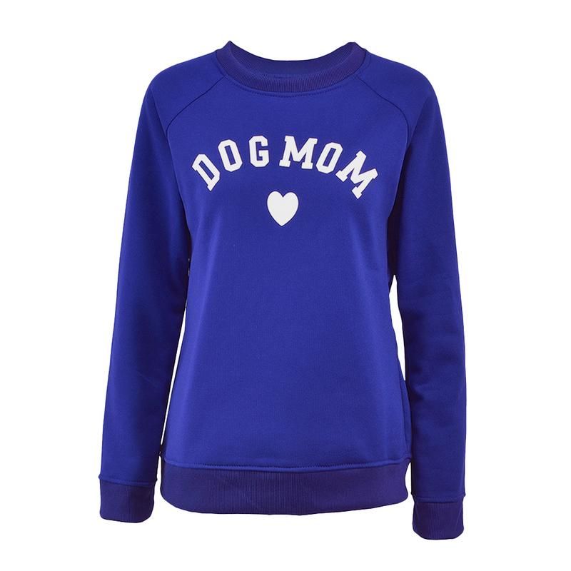 Dog Mom Women's Plus Velvet Fashionable Long Sleeve Casual Sweatshirt Printing Heart-shaped Print Kawaii Sweatshirt Clothing