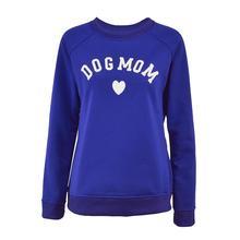 Dog Mom Women's Plus Velvet Fashionable Long Sleeve Casual Sweatshirt Heart-shaped Print