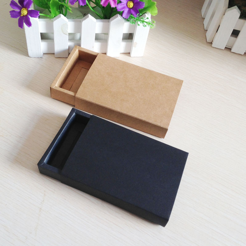 50PCS/Lot Free Shipping Gift box Retail Black Kraft Paper Drawer Box Gift Craft Power Bank Packaging Cardboard Boxes plywood