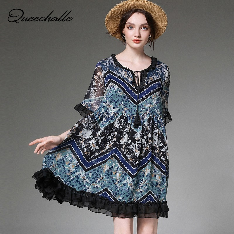 XL 4XL Plus Size Chiffon Dress Women Elegant Print Midi Dress Summer Tassel Ties Collar Ruffles